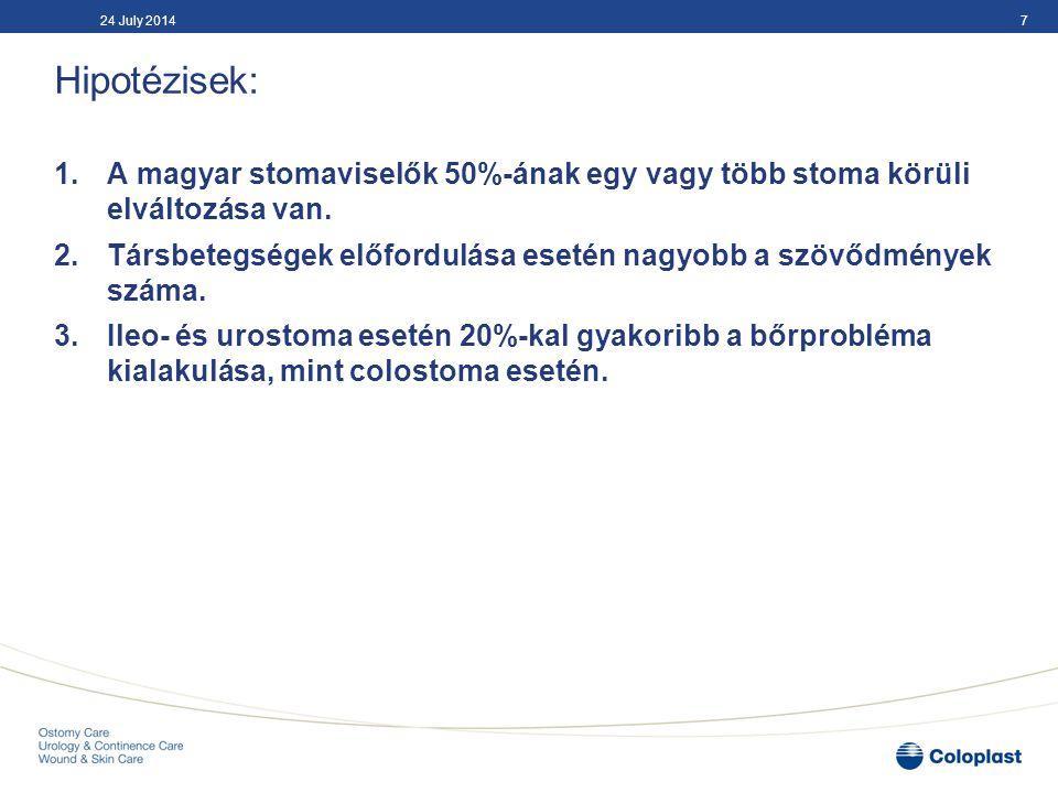 04 April 2017 Hipotézisek: A magyar stomaviselők 50%-ának egy vagy több stoma körüli elváltozása van.
