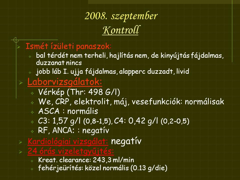 2008. szeptember Kontroll Laborvizsgálatok: Ismét ízületi panaszok: