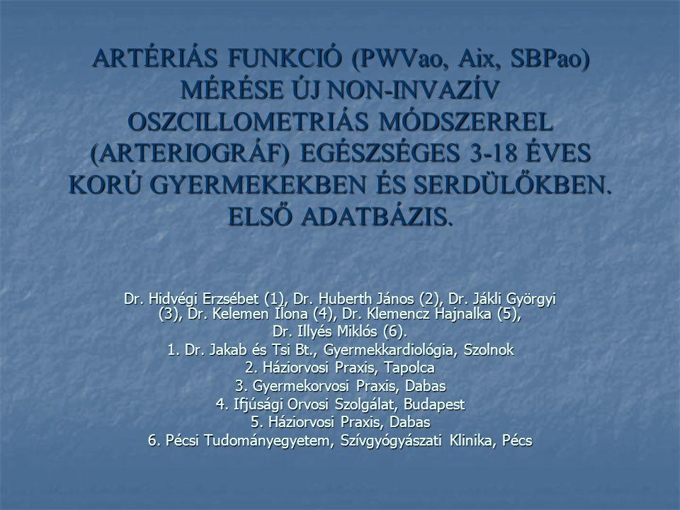 ARTÉRIÁS FUNKCIÓ (PWVao, Aix, SBPao) MÉRÉSE ÚJ NON-INVAZÍV OSZCILLOMETRIÁS MÓDSZERREL (ARTERIOGRÁF) EGÉSZSÉGES 3-18 ÉVES KORÚ GYERMEKEKBEN ÉS SERDÜLŐKBEN. ELSŐ ADATBÁZIS.