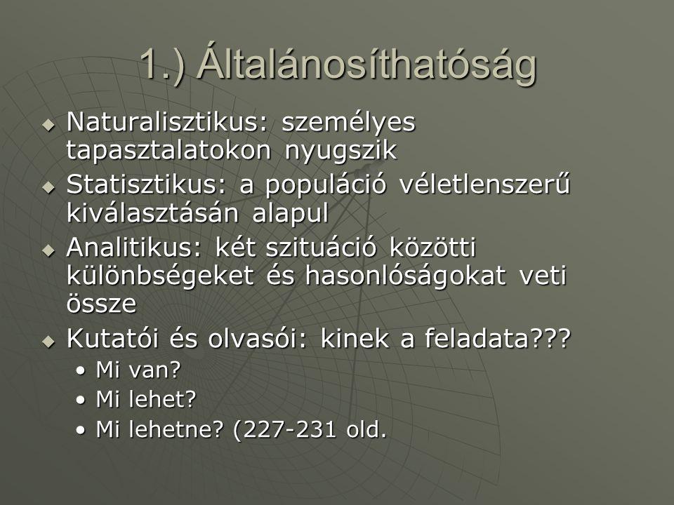 1.) Általánosíthatóság Naturalisztikus: személyes tapasztalatokon nyugszik. Statisztikus: a populáció véletlenszerű kiválasztásán alapul.