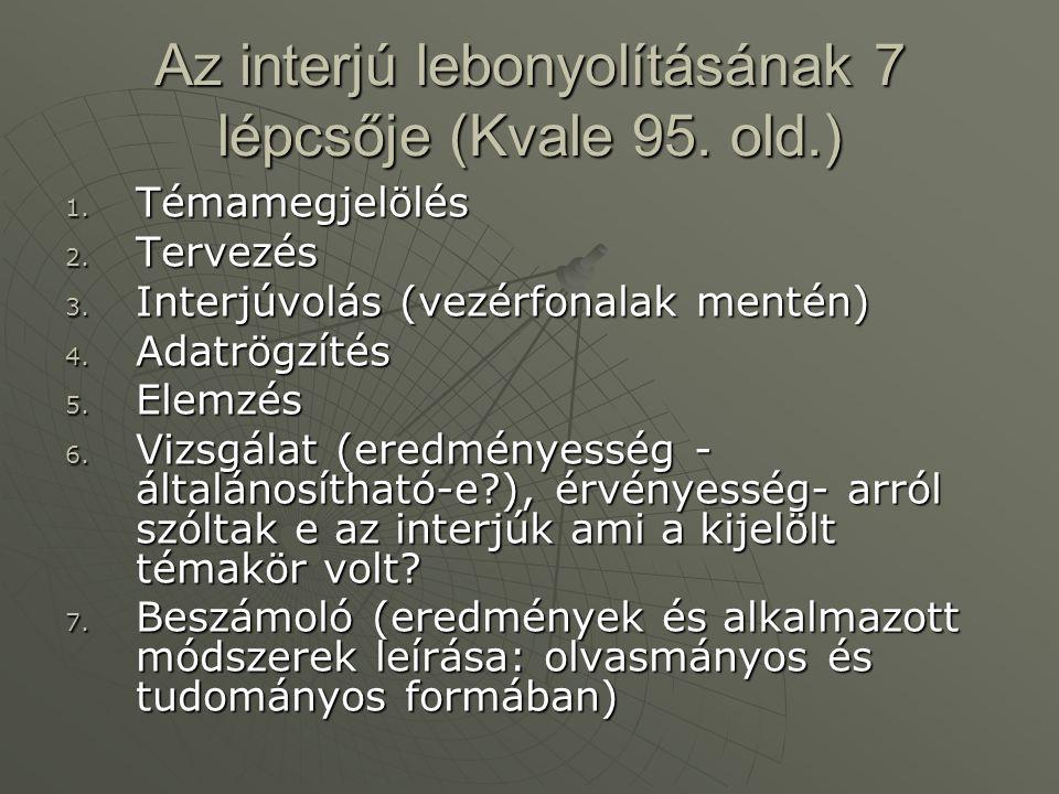 Az interjú lebonyolításának 7 lépcsője (Kvale 95. old.)
