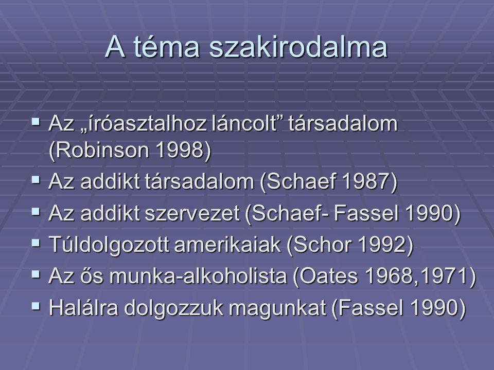 """A téma szakirodalma Az """"íróasztalhoz láncolt társadalom (Robinson 1998) Az addikt társadalom (Schaef 1987)"""