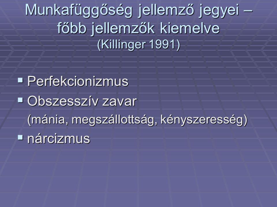 Munkafüggőség jellemző jegyei –főbb jellemzők kiemelve (Killinger 1991)