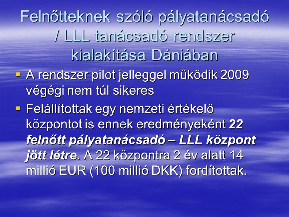 Felnőtteknek szóló pályatanácsadó / LLL tanácsadó rendszer kialakítása Dániában