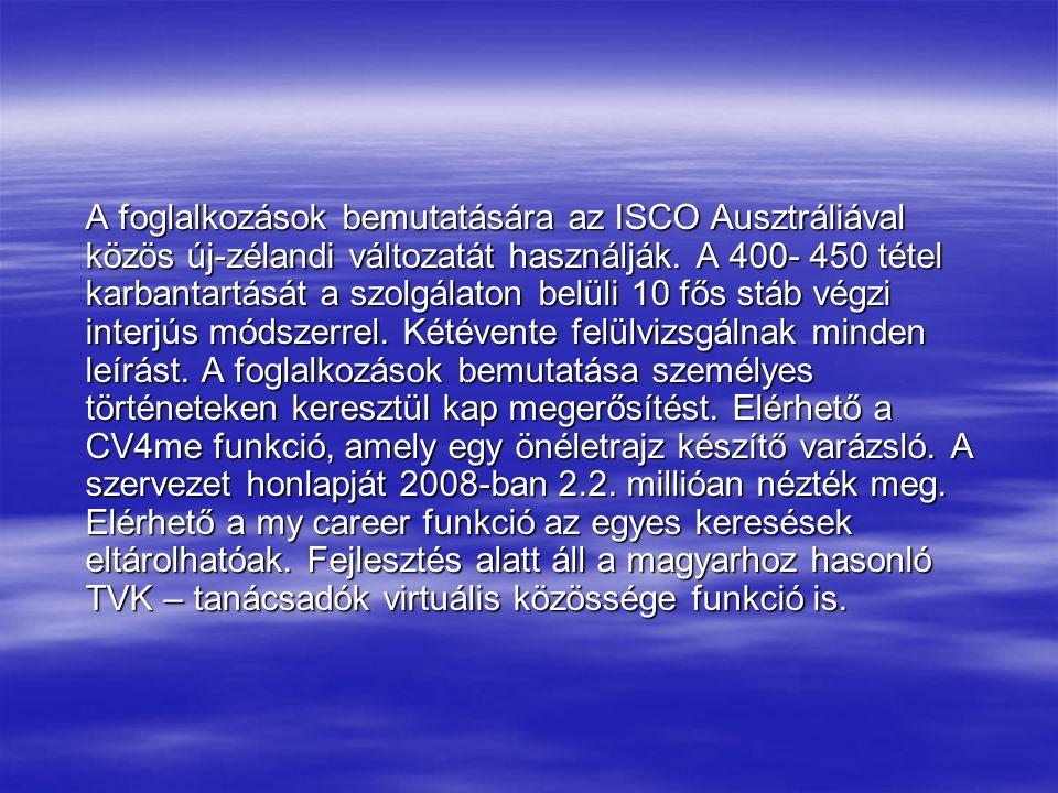 A foglalkozások bemutatására az ISCO Ausztráliával közös új-zélandi változatát használják.