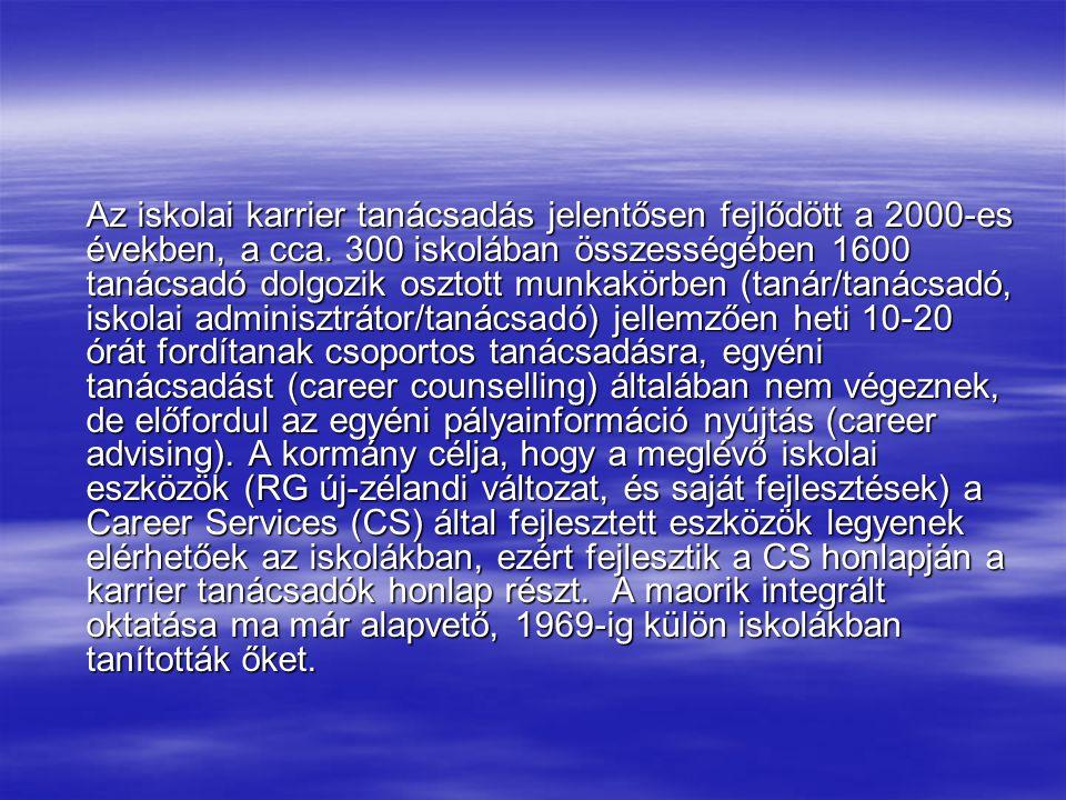 Az iskolai karrier tanácsadás jelentősen fejlődött a 2000-es években, a cca.