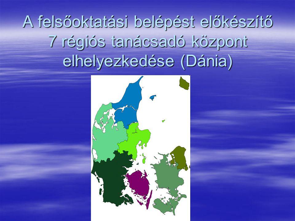 A felsőoktatási belépést előkészítő 7 régiós tanácsadó központ elhelyezkedése (Dánia)