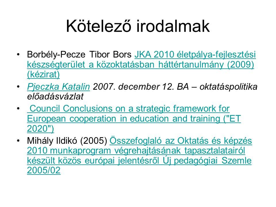 Kötelező irodalmak Borbély-Pecze Tibor Bors JKA 2010 életpálya-fejlesztési készségterület a közoktatásban háttértanulmány (2009) (kézirat)