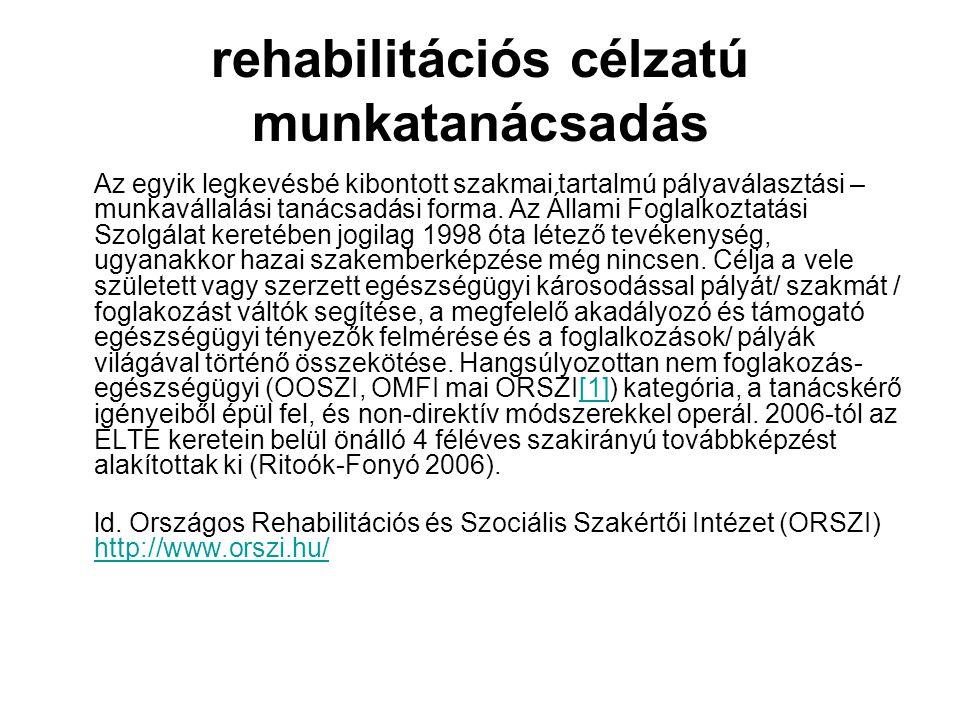 rehabilitációs célzatú munkatanácsadás