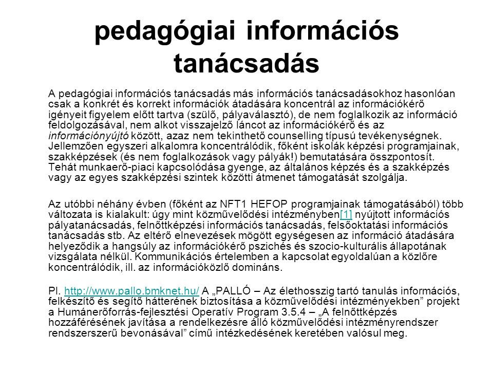 pedagógiai információs tanácsadás