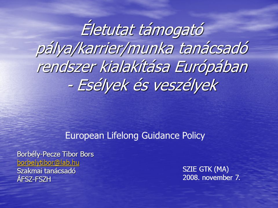 European Lifelong Guidance Policy