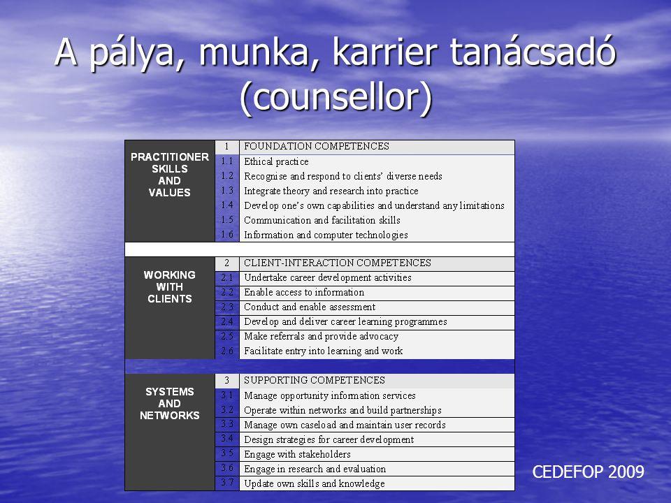 A pálya, munka, karrier tanácsadó (counsellor)