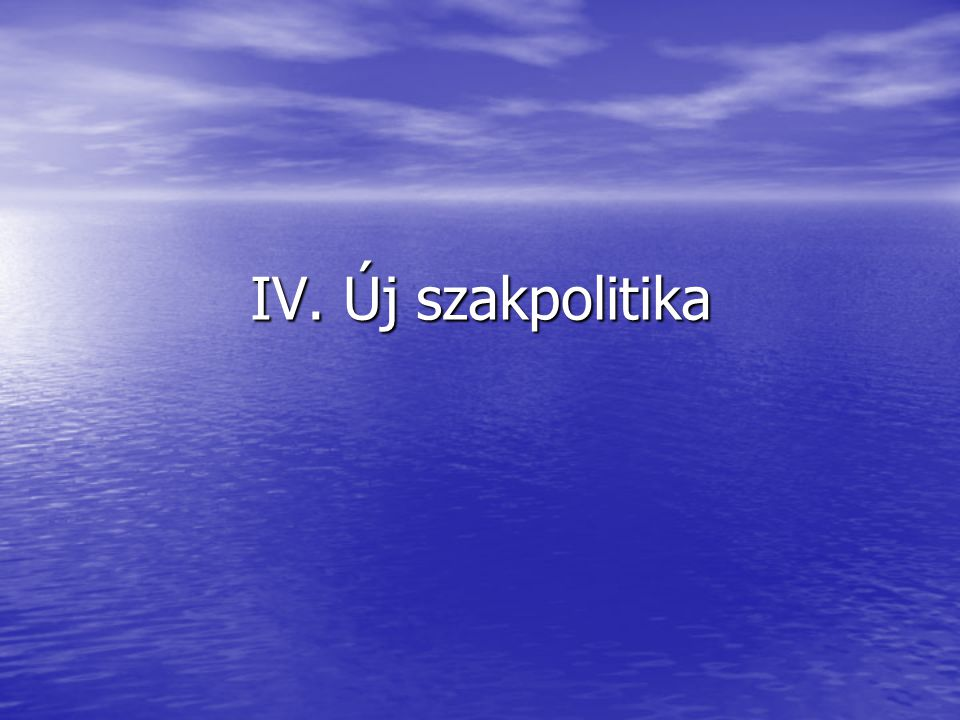 IV. Új szakpolitika