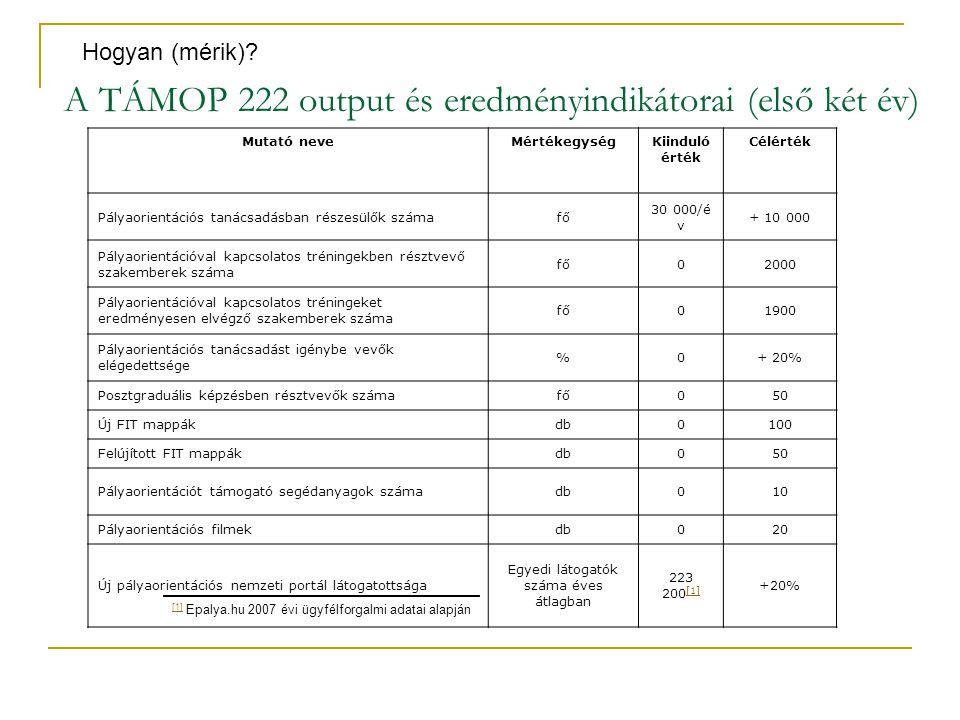 A TÁMOP 222 output és eredményindikátorai (első két év)