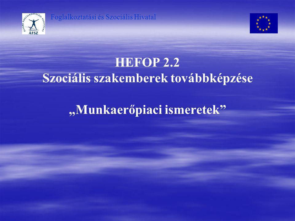 """HEFOP 2.2 Szociális szakemberek továbbképzése """"Munkaerőpiaci ismeretek"""