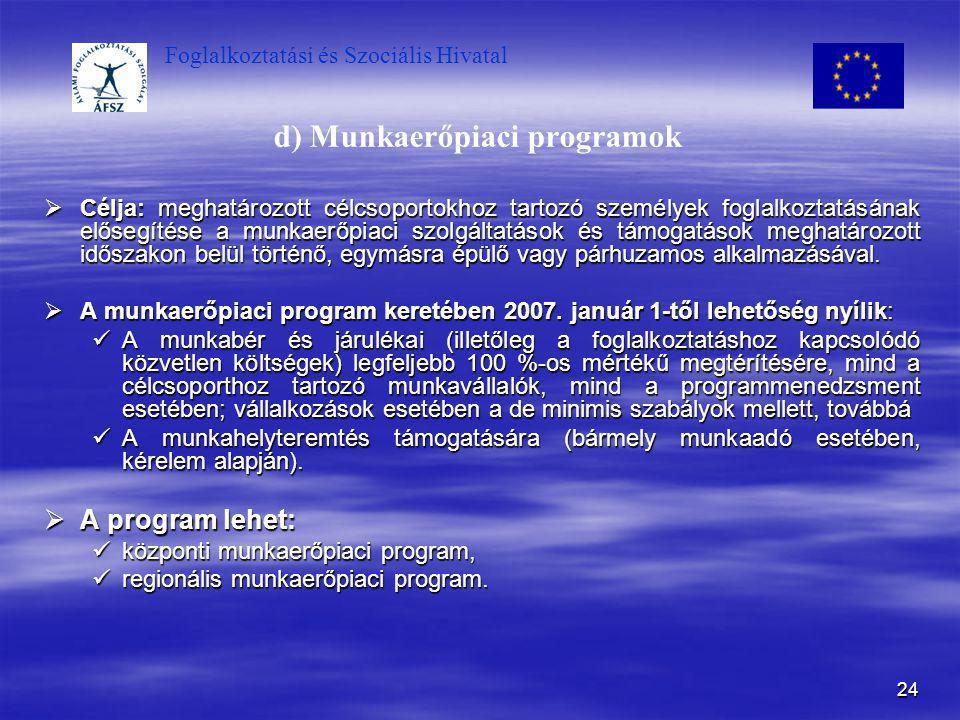 d) Munkaerőpiaci programok