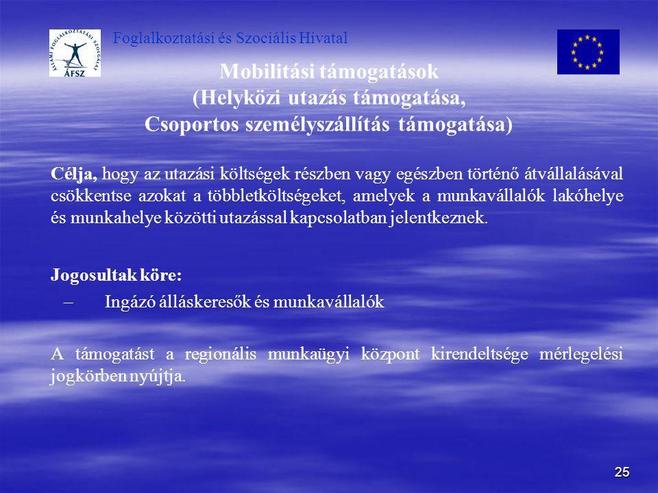 Mobilitási támogatások (Helyközi utazás támogatása, Csoportos személyszállítás támogatása)