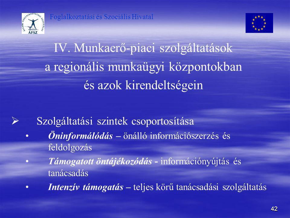 IV. Munkaerő-piaci szolgáltatások a regionális munkaügyi központokban
