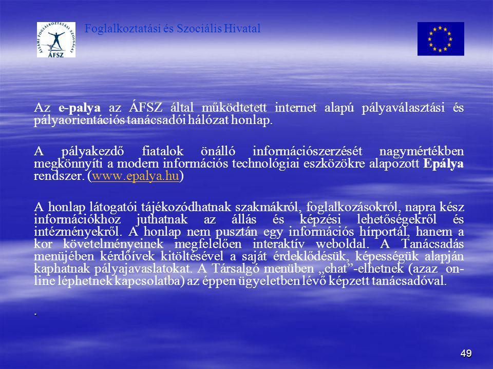 Az e-palya az ÁFSZ által működtetett internet alapú pályaválasztási és pályaorientációs tanácsadói hálózat honlap.