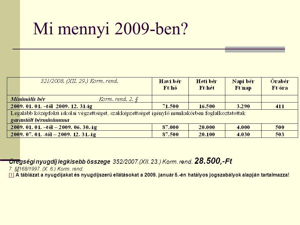 Mi mennyi 2009-ben Öregségi nyugdíj legkisebb összege 352/2007.(XII. 23.) Korm. rend. 28.500,-Ft.