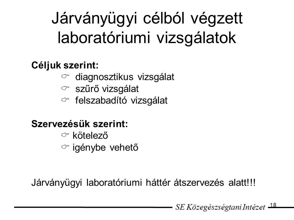 Járványügyi célból végzett laboratóriumi vizsgálatok