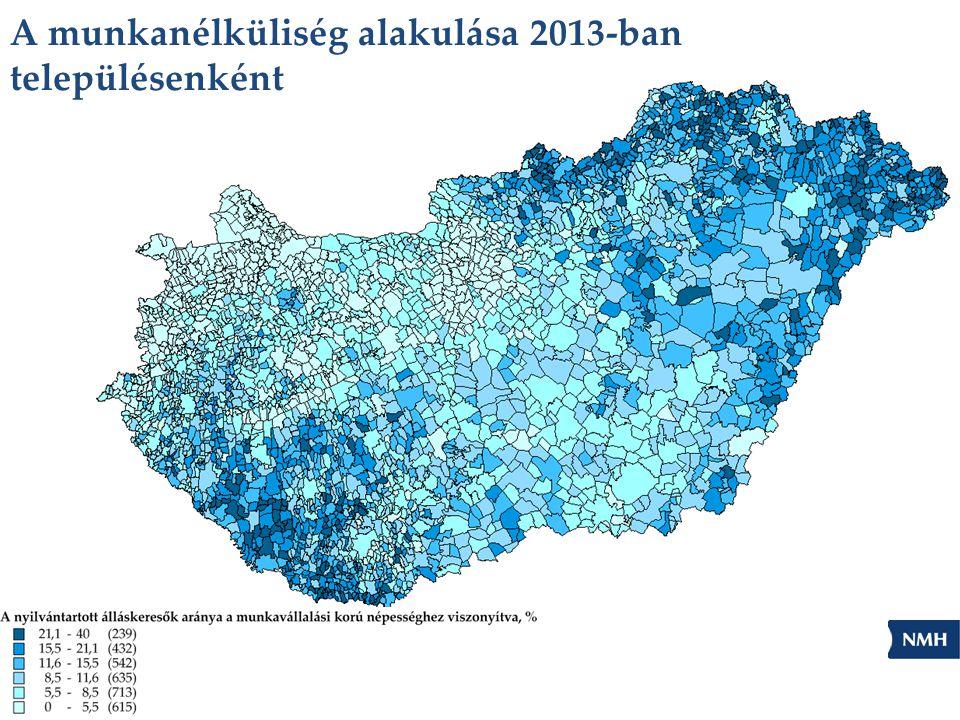 A munkanélküliség alakulása 2013-ban településenként