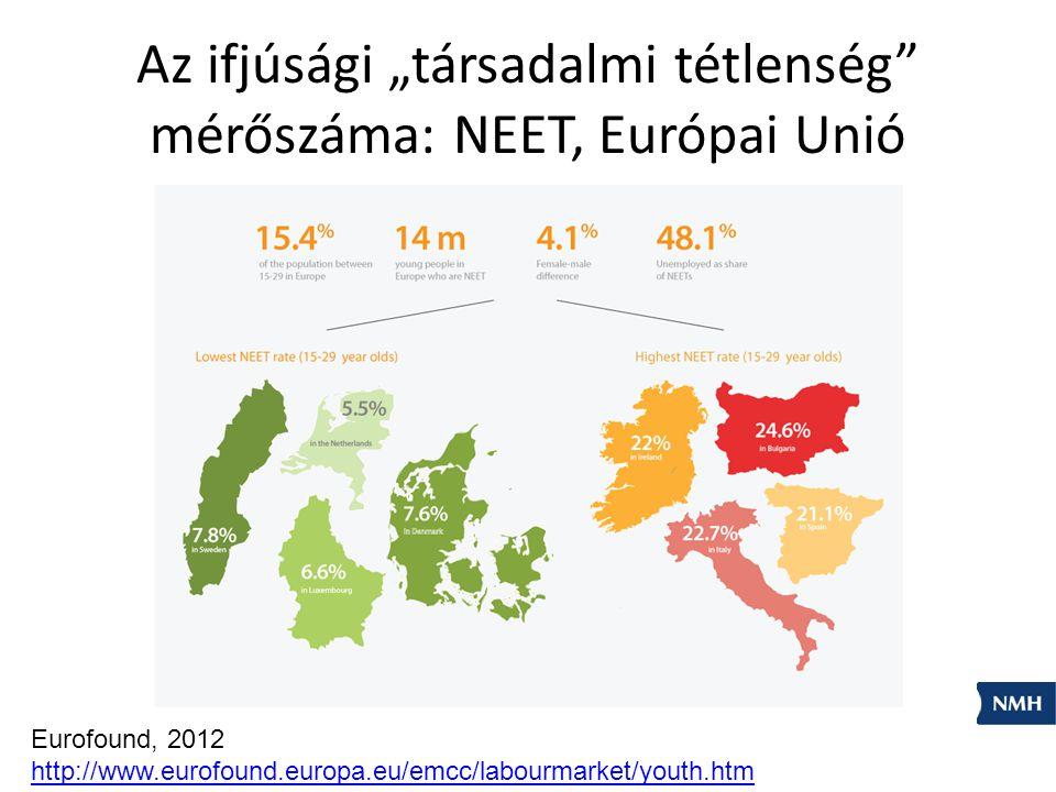 """Az ifjúsági """"társadalmi tétlenség mérőszáma: NEET, Európai Unió"""