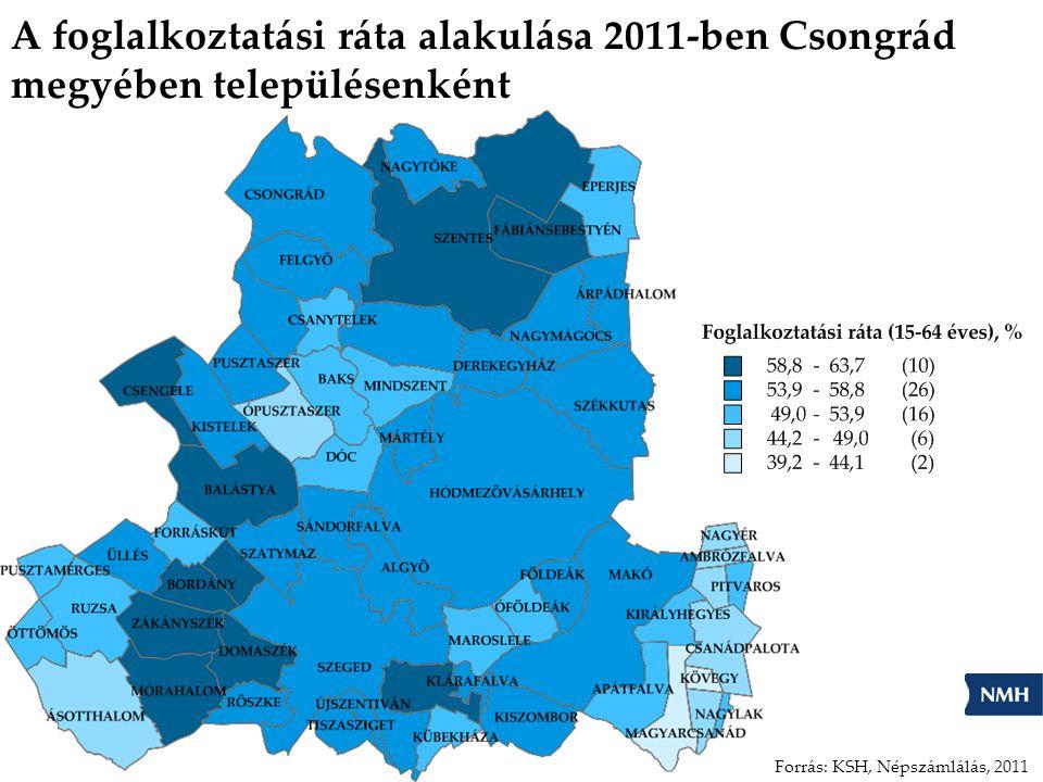 A foglalkoztatási ráta alakulása 2011-ben Csongrád megyében településenként