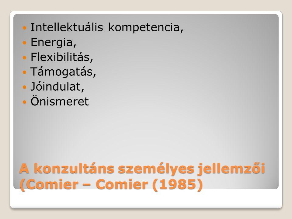 A konzultáns személyes jellemzői (Comier – Comier (1985)