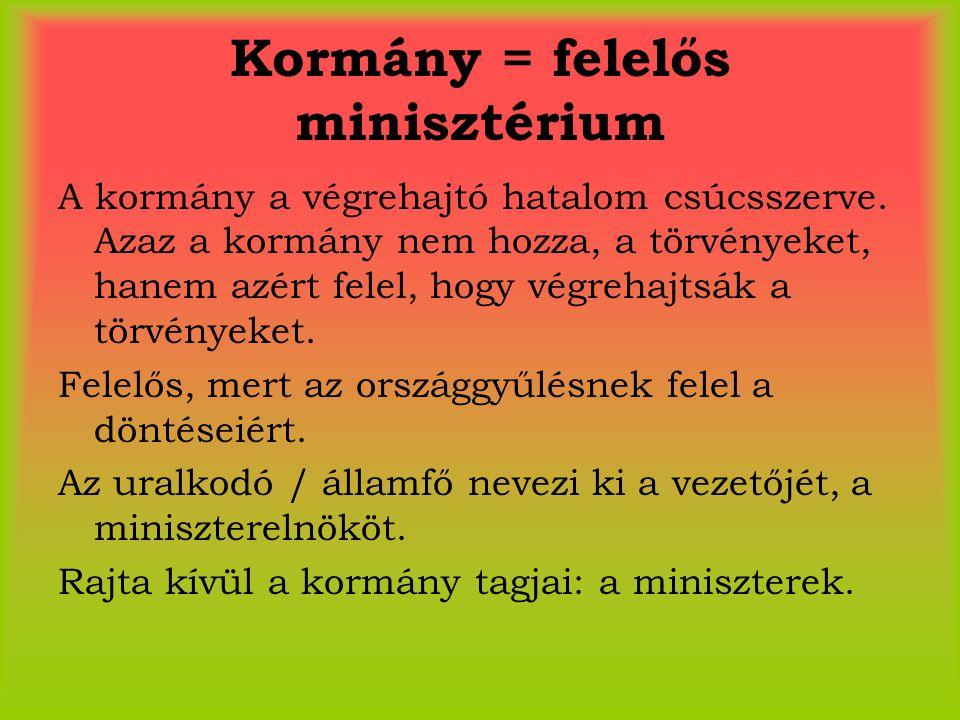 Kormány = felelős minisztérium