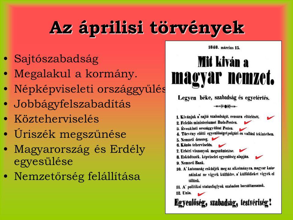 Az áprilisi törvények Sajtószabadság Megalakul a kormány.