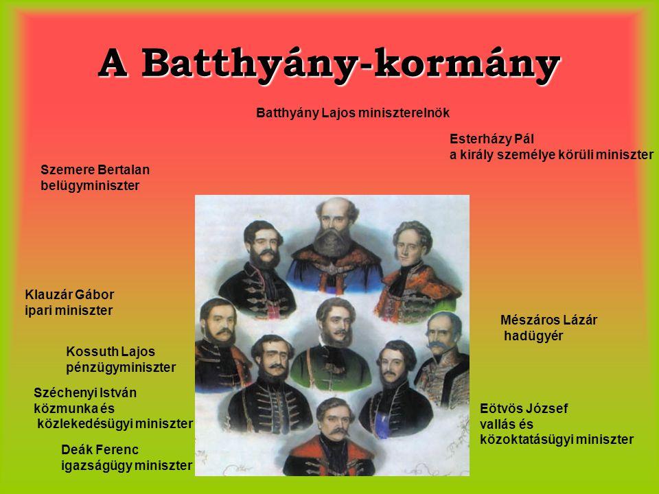 A Batthyány-kormány Batthyány Lajos miniszterelnök Esterházy Pál