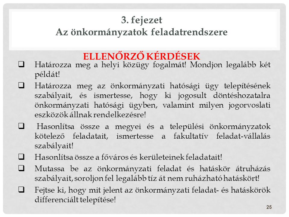3. fejezet Az önkormányzatok feladatrendszere
