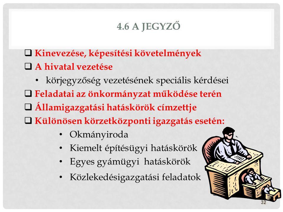 4.6 A jegyző Kinevezése, képesítési követelmények A hivatal vezetése
