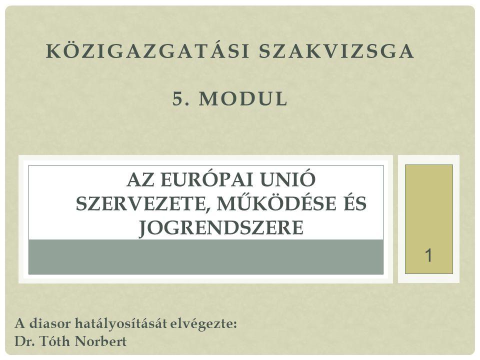 Az Európai Unió szervezete, működése és jogrendszere