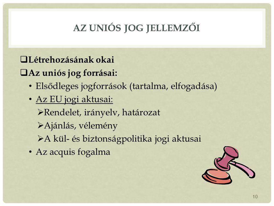 Az uniós jog jellemzői Létrehozásának okai Az uniós jog forrásai: