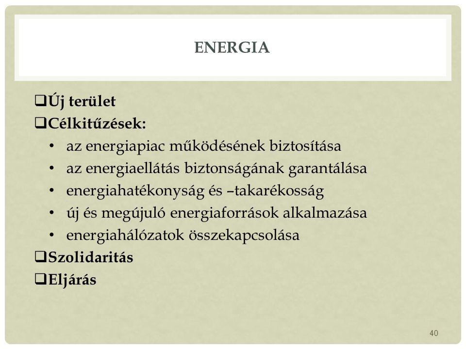 Energia Új terület Célkitűzések: