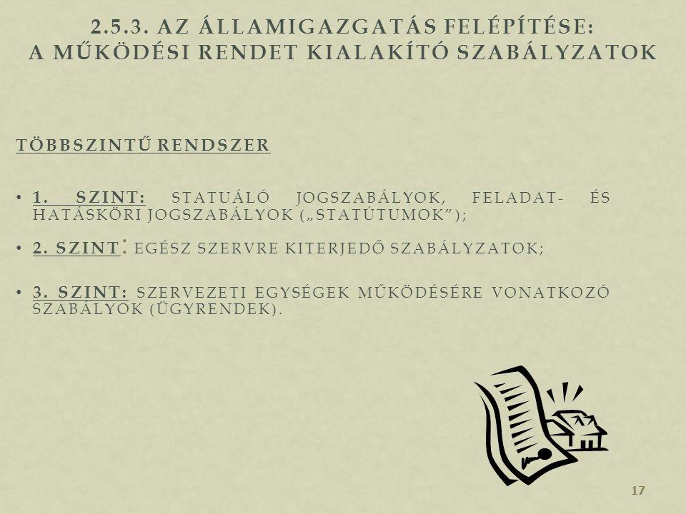 2.5.3. Az államigazgatás felépítése: a működési rendet kialakító szabályzatok