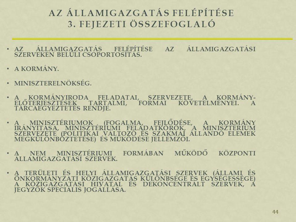 3. fejezeti összefoglaló