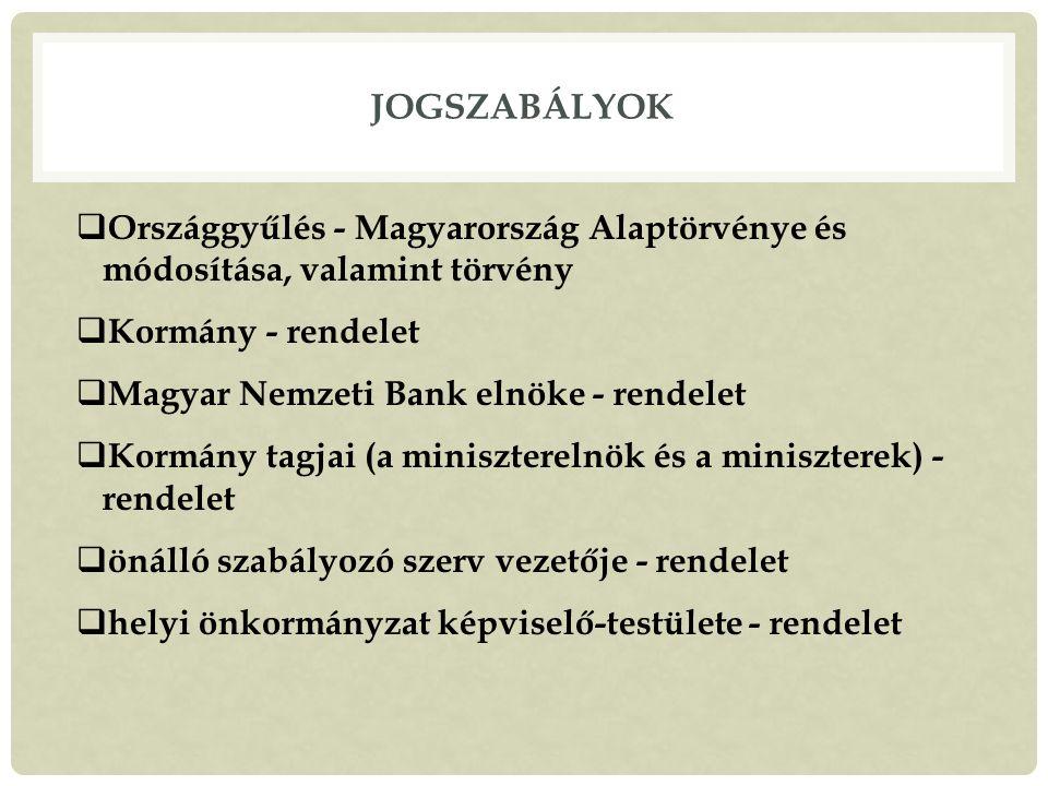 Jogszabályok Országgyűlés - Magyarország Alaptörvénye és módosítása, valamint törvény. Kormány - rendelet.