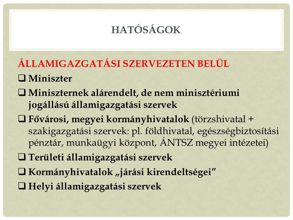 Hatóságok ÁLLAMIGAZGATÁSI SZERVEZETEN BELÜL Miniszter