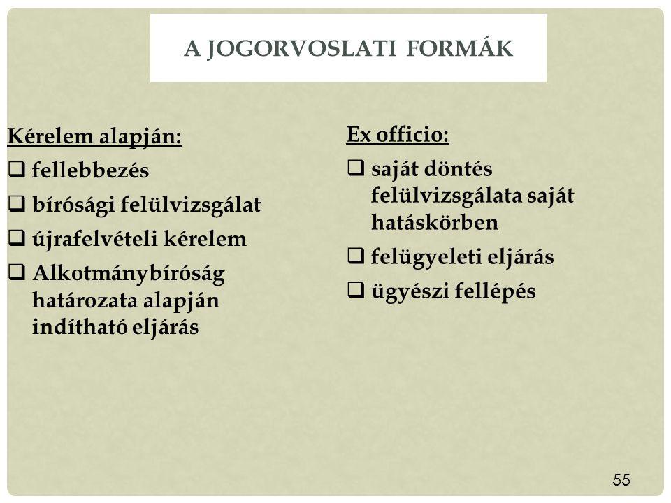 A jogorvoslati formák Kérelem alapján: Ex officio: fellebbezés