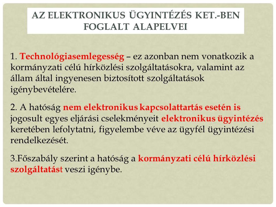 Az elektronikus ügyintézés Ket.-ben foglalt alapelvei
