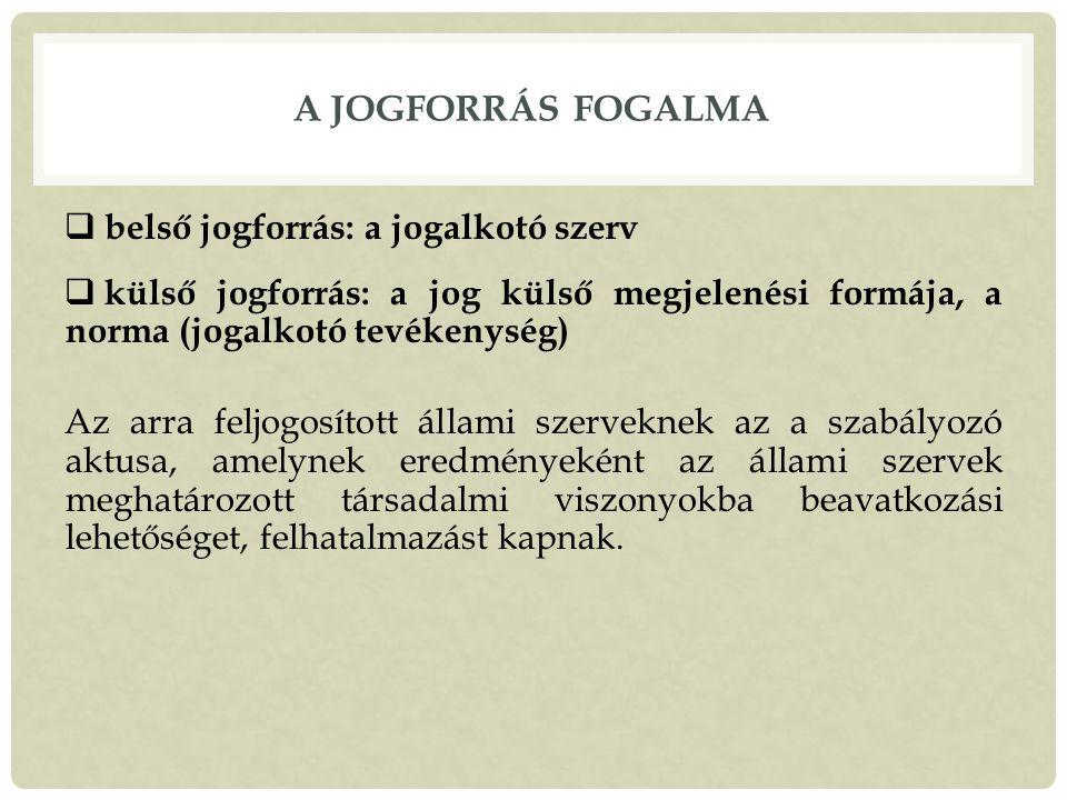 A jogforrás fogalma belső jogforrás: a jogalkotó szerv