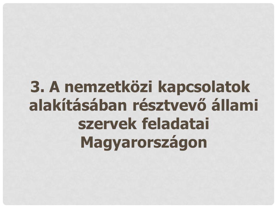 3. A nemzetközi kapcsolatok alakításában résztvevő állami szervek feladatai Magyarországon