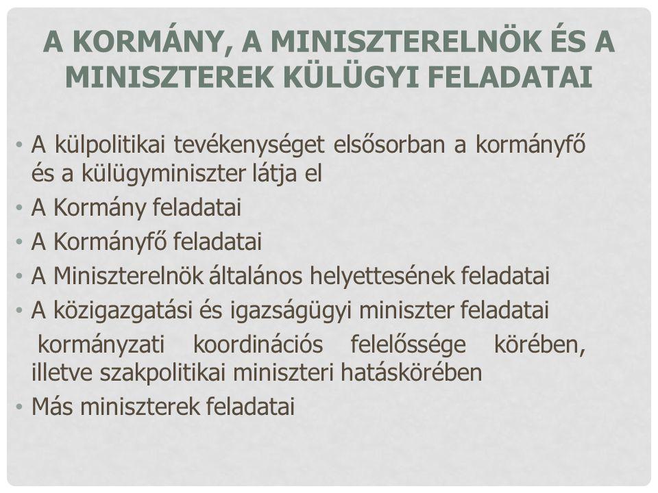 A Kormány, a miniszterelnök és a miniszterek külügyi feladatai