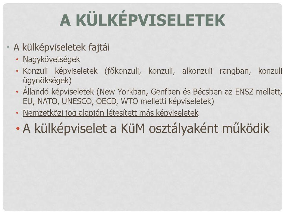 A külképviseletek A külképviselet a KüM osztályaként működik
