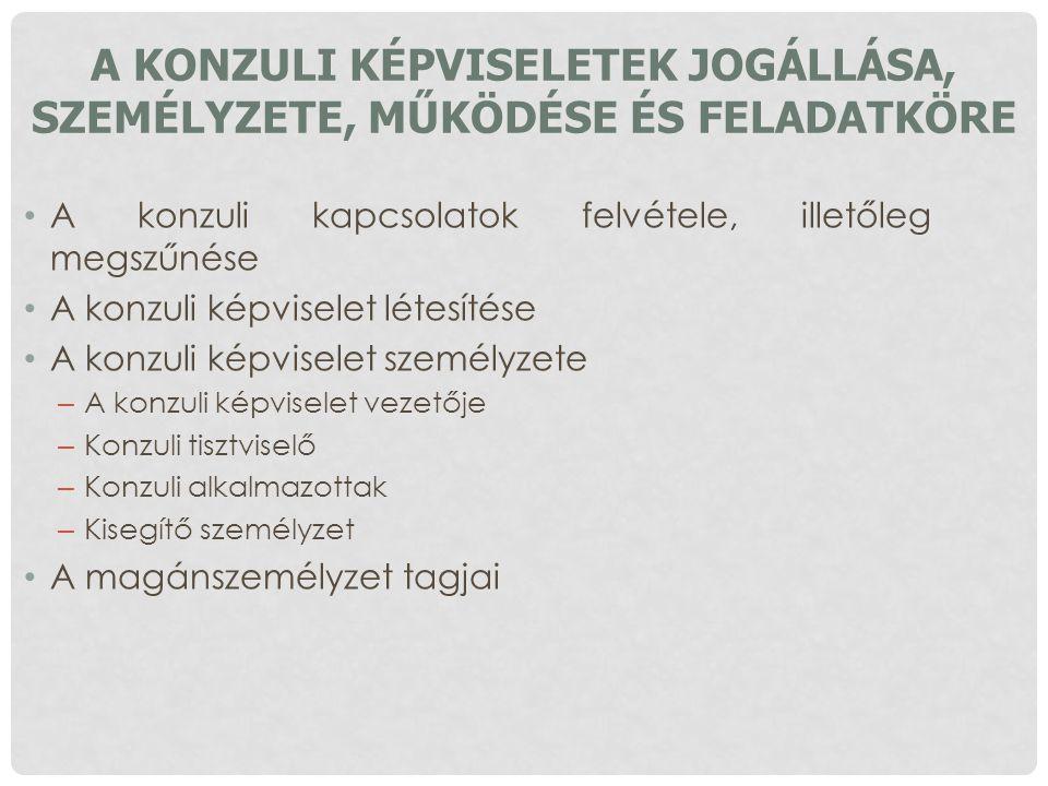 A konzuli képviseletek jogállása, személyzete, működése és feladatköre