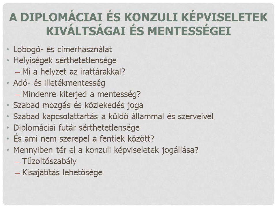 A diplomáciai és konzuli képviseletek kiváltságai és mentességei