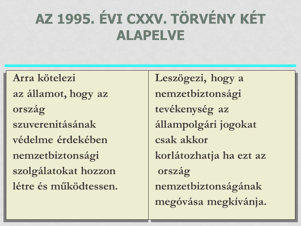 Az 1995. évi CXXV. törvény két alapelve